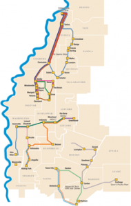 map of bus routes in Mississippi Delta