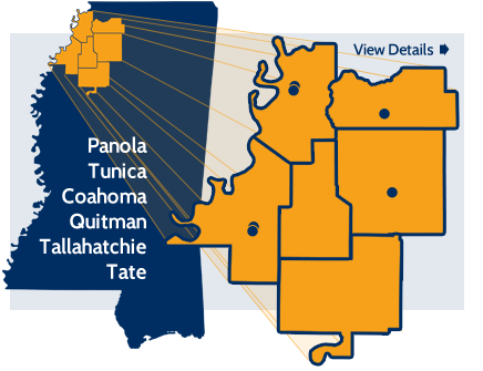 map of state and fly-out of counties: Panola, Tunica, Coahoma, Quitman, Tallahatchie and Tate